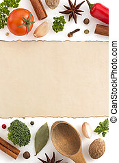 food ingredients and paper on white