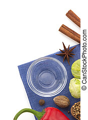 food ingredients and spices isolated on white background