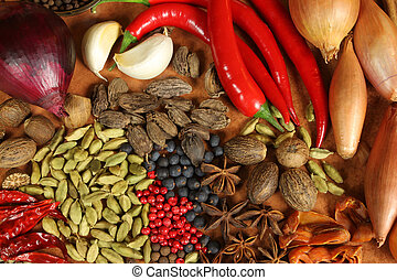 Cooking ingredients - colorful variety of spices, herbs, vegetables and other food.