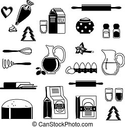 Food ingredients for baking and cooking. Monochrome vector illustration isolate on white