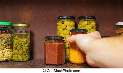 Food ingredients, olives, pesto, nuts and seeds - Food...