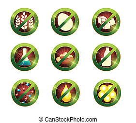 Food intolerance signs. Signs for food which not contain...