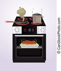 Food is cooked on the stove. Vector flat cartoon illustration