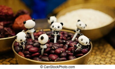 food is red beans lies in a saucer during the festival the...