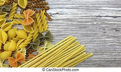 food, italian pasta on wooden table