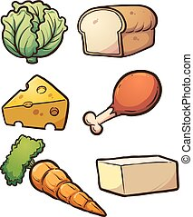 Food items - Cartoon food items. Vector clip art ...