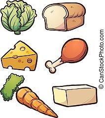Food items - Cartoon food items. Vector clip art...