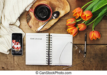 Food Journal and Coffee - Overhead shot of an open food ...