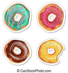 Food label or sticker set donuts