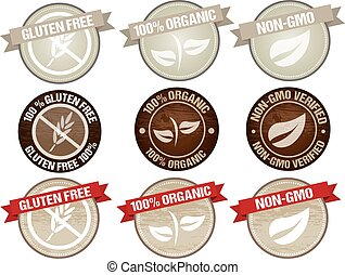 food label - set of stamps icon design for products organic...