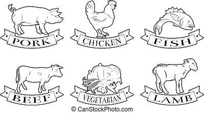 Food labels set - A set of food labels, icons or menu ...