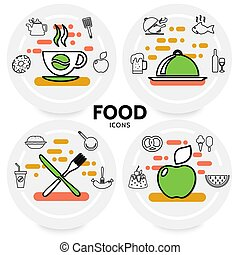 Food Line Icons Concept