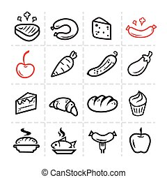 Line icon of food and kitchen, vector set.