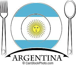 Food logo made from the flag of argentina
