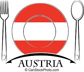 Food logo made from the flag of Austria