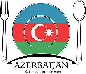 Food logo made from the flag of Azerbaijan