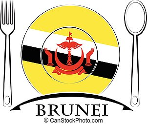 Food logo made from the flag of brunei