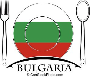 Food logo made from the flag of Bulgaria