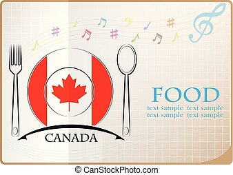Food logo made from the flag of Canada
