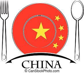 Food logo made from the flag of China