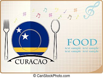 Food logo made from the flag of Curacao