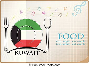 Food logo made from the flag of Kuwait
