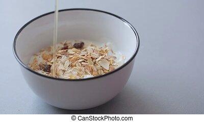 Food made of muesli mixed with fresh yogurth
