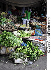 Food Market - Vegetables for sale on the Nha Trang Market in...