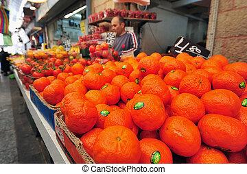 Food Markets - JERUSALEM - FEB 06:Fruits on display on Feb...