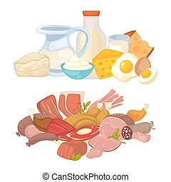 Food meat and dairy milk products vector flat icons set - ...