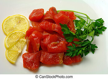 food meat with lemon