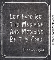 Let food be thy medicine and medicine be thy food - ancient Greek physician Hippocrates quote written on framed chalkboard