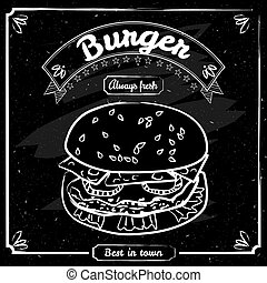Food menu for restaurant and cafe. Design template with hand-drawn graphic elements in doodle style. Vector, isolated