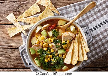 food:, mexicaanse , tomaten, koren, avocado, soep, chicken, close-up., horizontaal, tortilla, hoogste mening