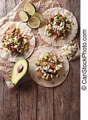 food:, mexicaanse , verticaal, avocado., bovenzijde, carnitas, tortilla, uien, aanzicht