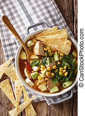 food:, mexicaanse , verticaal, tomaten, koren, avocado, soep, chicken, close-up., tortilla, hoogste mening