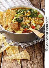 food:, mexicaanse , verticaal, tomaten, koren, avocado, soep, chicken, close-up., tortilla