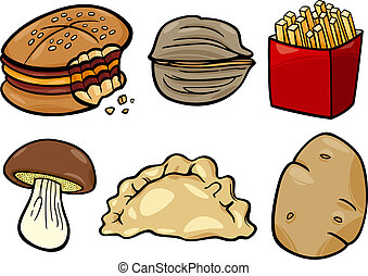 food objects cartoon illustration set