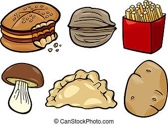 food objects cartoon illustration set