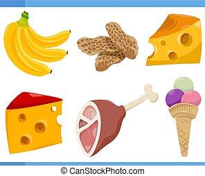 food objects cartoon set illustration