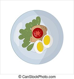 Food on a round white plate in flat style. The concept of lunch, dinner. Piece of bread. Sandwich with red tomato and two egg halves and greens. For icons, infographics. Design menu restaurant, cafe
