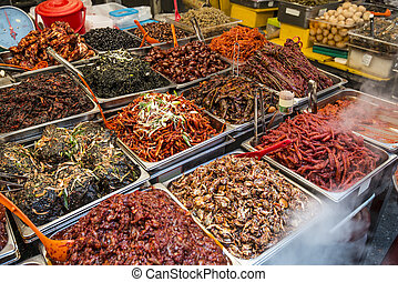 Gwangjang Market in Seoul - Food on display at Gwangjang ...