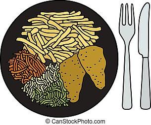 Food on the black plate