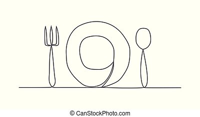 Food One line drawing