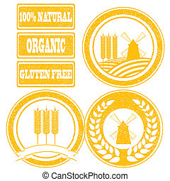 Food orange rubber stamps labels collection for whole grain...