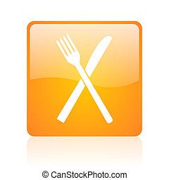 food orange square glossy web icon