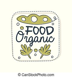Food organic logo, label for healthy food store, vegan shop, vegetarian cafe, ecology company, natural products, eco market, farming hand drawn vector Illustration on a white background