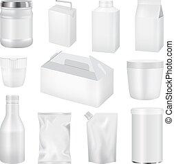 Food pack mockup set, realistic style