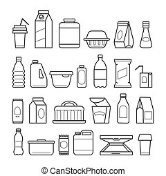 Food package line icons