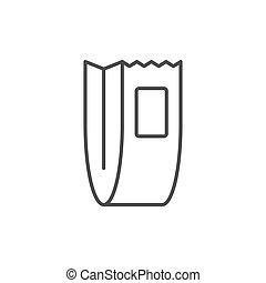 Food paper bag line outline icon